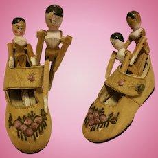 Grodnertal Wooden Antique Doll Val Gardena