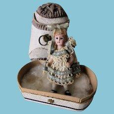 Antique rare little doll porcelain in a box