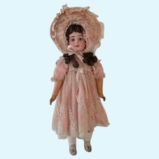Vintage French doll dress and bonnet valenciennes