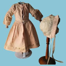 Antique French dress with Bonnet.