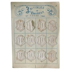 Ancient French embroidered initials 12 letters N