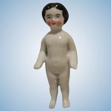 Beautiful German Frozen Charlotte Bathing Doll 4,33 inch 1850-1900