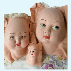 1930 lot of three Doll faces