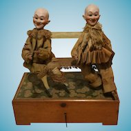 1920 Antique Couple Clown doll head in Bisquit semi automaton carillon