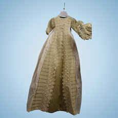 Antique baby baptism dress for babies and dolls with baby headset 1900