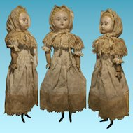 "24,40 "" Antique German Doll Wax over Papier Mache glass fixed eyes 62 cm"