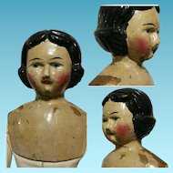 "17""Antique Rare Italian Wood Doll Val Gardena half 1800 in wood and kid"