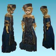 "25,69"" Antique Doll Wax over Composition shoulder head velvet and cotton blue velvet"