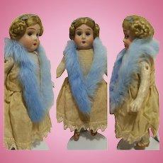 """7,50"""" German Doll head bisque body papier-mache 1900"""