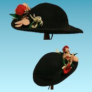 Vintage Hat for doll 1950 Anne Mode Roma Made in Italy in black felt hat