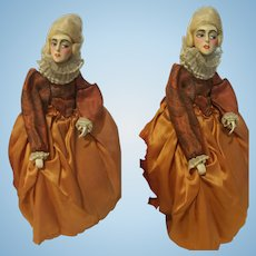 "11,81"" Antique Doll Wax Over Papier Mache"