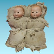 "RARE 1920's Armand Marseille 8,26"" Twins Bisque Baby Dolls"