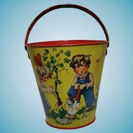 Vintage Germany U.S Zone Tin Toy Bucket 1950 marked Kleim