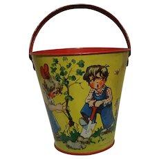 Vintage Germany U.S Zone Tin Toy Bucket 1950 marked Kleim