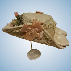 Beautiful silk and lace hat for french or lady doll