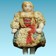 "1,37"" Little Sweet Carl Horn All Bisque doll in all original dress"
