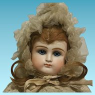 "16"" Antique French Doll Belton  mold number 106 socket solid dome head with two holes"