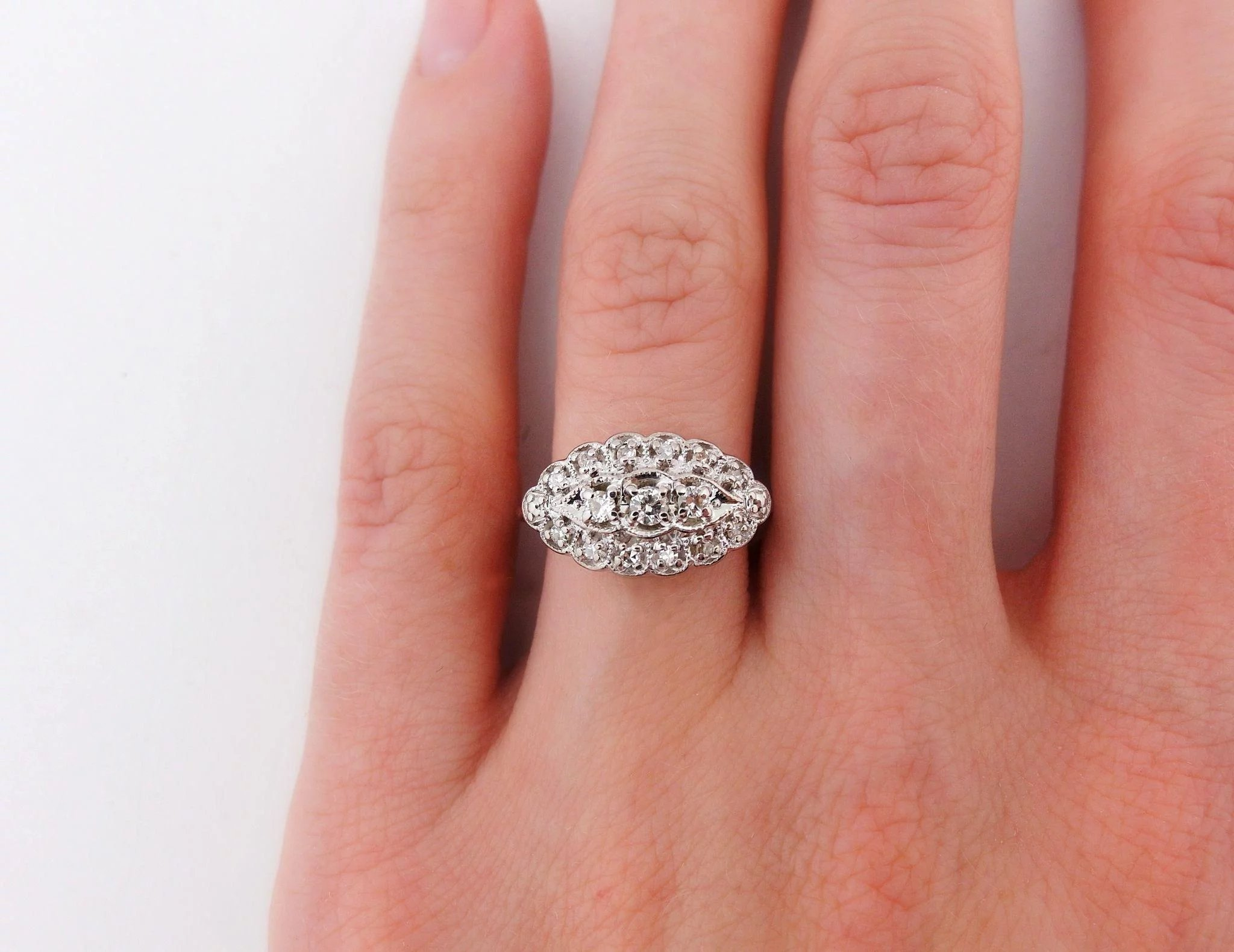 Mid Century Vintage Diamond Ring in 14k White Gold by Rhapsody ...
