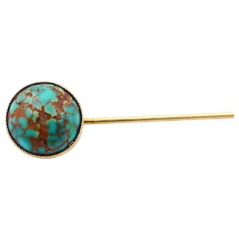 """Antique Turquoise Stick Pin in Solid 14k Yellow Gold Sturdy Long 2.75"""""""