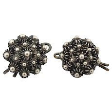 Antique Victorian GEORGE DAY Sterling Silver Cuff Links Buttons Count Eric Lewenhaupt Estate