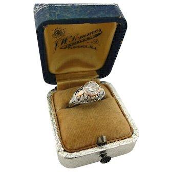 Upcycled Vintage 1920's 1.00ct Diamond Engagement Ring White Rose Gold Filigree