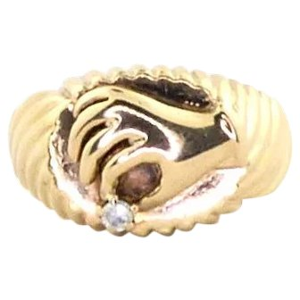 Upcycled Victorian Hand Motif Holding Diamond in 14k Yellow Gold Ring Band