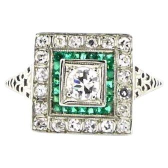 Original Art Deco Diamond & Synthetic Emerald Ring 18k White Gold Vintage Engagement