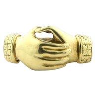 1940's Vintage Samuel Kalina Gimmel Hand Ring in Solid 14k Yellow Gold sz 4
