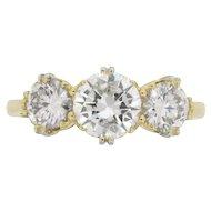 Victorian Inspired Three Stone Diamond Ring, c.1950s