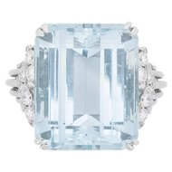 Vintage Aquamarine and Diamond Ring, c.1940s