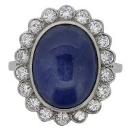 Vintage Certified Sapphire and Diamond Cluster Ring, c.1940s