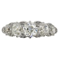 Edwardian Five Stone Diamond Ring, c.1910s