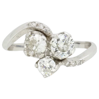 Antique 1.20 Carat Three Stone Diamond Twist Ring, c.1910s