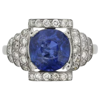 Art Deco-Inspired 2.76 Carat Burmese Sapphire and Diamond Ring, c.1950s