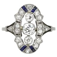French Diamond and Sapphire Dinner Ring, c.1920s