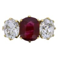 Art Deco Three Stone 2.03 Carat Ruby and Diamond Ring, c.1930s