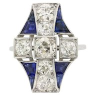 Art Deco 2.40 Carat Total Diamond and Sapphire Dinner Ring, c.1920s
