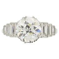 EDR Certified 3.17 Carat Art Deco Diamond Engagement Ring with Set Shoulders, c.1920s