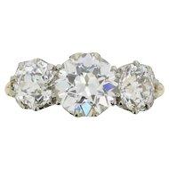Victorian 3.80 Carat Three Stone Old Cut Diamond Ring, c.1880s