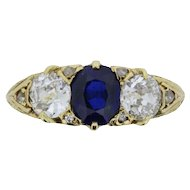 Victorian Three Stone Sapphire and Diamond Ring, c.1880s