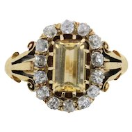Victorian Citrine and Old Cut Diamond Ring, c.1880s