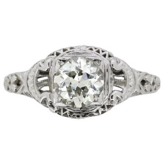 Antique 0.90 Carat Old Cut Diamond Ring in an Engraved Setting, c.1920s