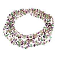 Six Strand Choker of Amethyst, Aventurine, Cultured  Pearls