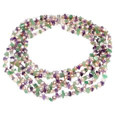 Six Strand Choker Necklace of Natural Amethyst, Aventurine and Cultured Pink Pearls