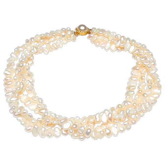 Four Strand Necklace of Natural, White Cultured Baroque Freshwater Pearls