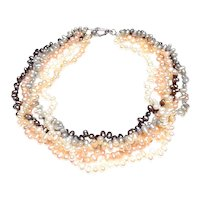 Five Strand Necklace of Baroque, Cultured Freshwater Pearls