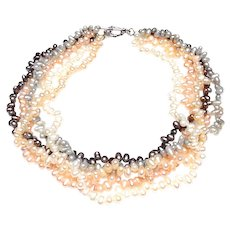 Five Strand Necklace of Baroque, Cultured Freshwater Pearls in White, Grey, Pink, Peach and Peacock