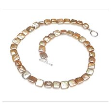 Square Shaped, Flat Cultured Freshwater Pearl Necklace