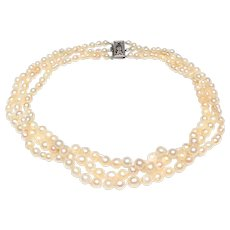 Vintage Natural, Cultured Pearl Choker Necklace of Three Strands