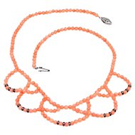 Vintage, Natural Coral Necklace of Complex Over-Lapping  Loops